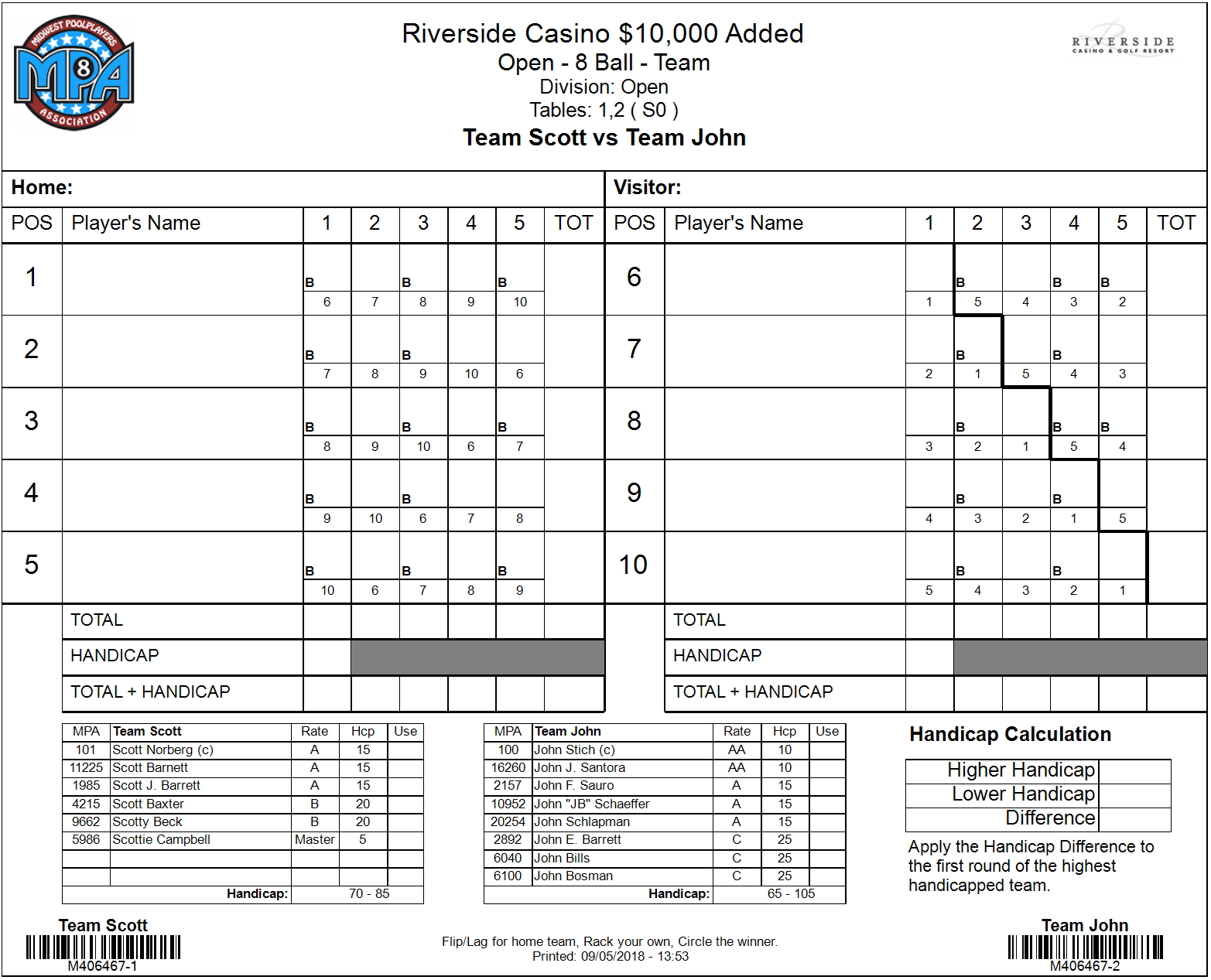 Standard Team socre sheet